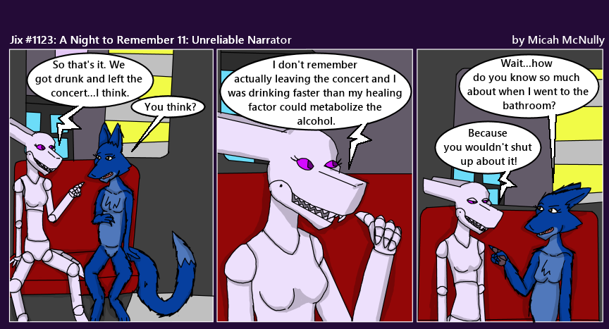 1123. A Night to Remember 11: Unreliable Narrator